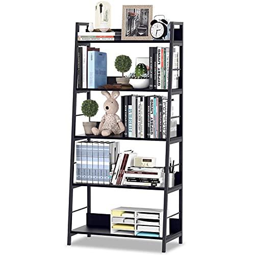 HIMIMI Black Ladder Bookshelf, 5 Shelf Bookcase Industrial Bookshelf Wood and Metal Bookshelves, Plant Flower Stand Rack Book Rack Storage Shelves for Home Decor