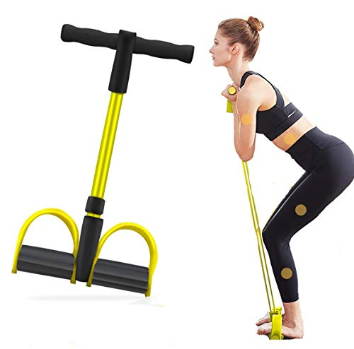 Bauchtrainer Upgrade 4 Tubes Pedal Resistance Band Elastisches Sit-up Pull Rope Bodybuilding Expander Multifunktions-Widerstandstraining Home Fitness Arm Bein Dehnen Abnehmen Training Yoga-Gelb