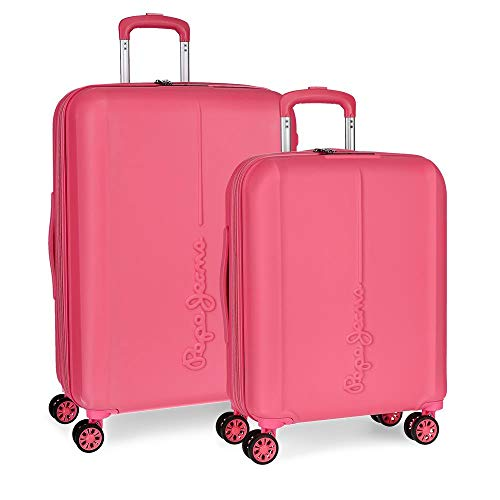 Pepe Jeans Glasgow Juego de maletas, 70 cm, 115 litros, Rosa