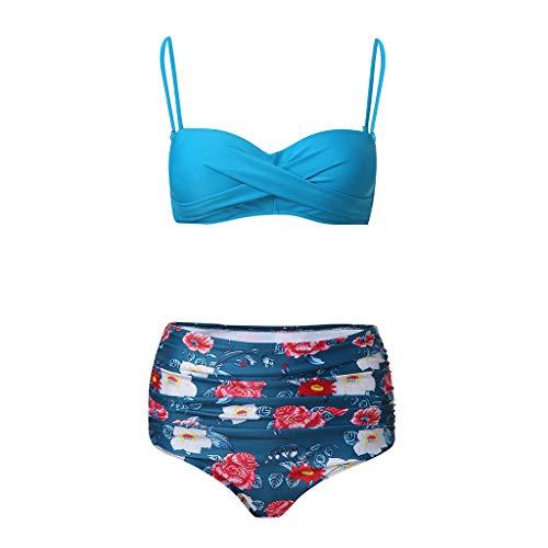 ZZXIAN Bikini broek dames High Waist Print Boho Sexy, badpak vrouwen badmode Plus size dames off-shoulder tankini elegante badkleding retro zwempak cup F