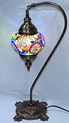 lampara turca original multicolor - 42 cm de altura x bola de 13 cm de diametro - mesita de noche - cristal y metal + 1 cajita de 10 conos incienso palo santo sac- regalo kenta artesanias