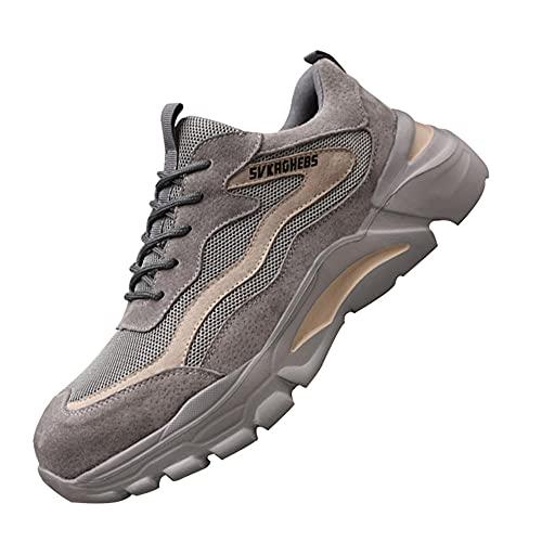 Hombres Zapatillas Deporte industriales,Punta de Acero Zapatos Ligero Zapatos de Trabajo Respirable Construcción Zapatos Botas de Seguridad,Grey▁46
