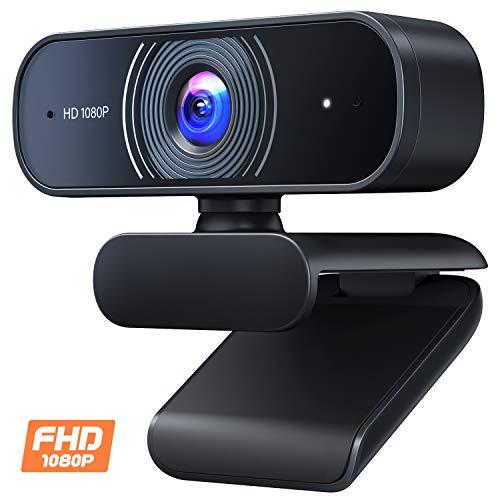 Roffie Webcam Full HD 1080p Video Web Cam Dual Micrófono integrado PC portátil escritorio cámara USB para videollamadas, grabación, conferencias, estudio, Skype