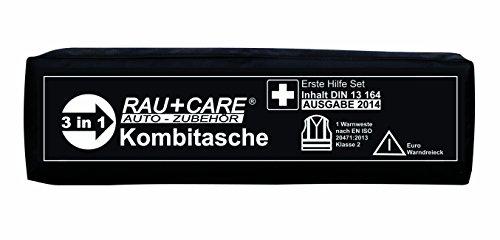 RAU EH0010 Trio Kombitasche Erste Hilfe Nach DIN13164 (Neueste Ausgabe) mit Warndreieck Ece und Warnweste EN20471, Schwarz