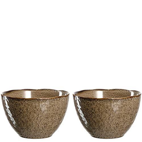 Leonardo Matera Keramik-Schalen, 2-er Set, spülmaschinengeeignete Schüsseln, 2 Steingut-Schalen mit Glasur, beige, 980 ml, Ø 15,3 cm, 026981