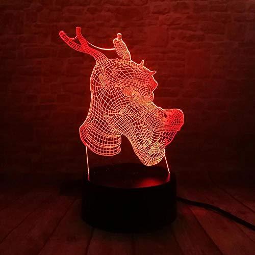 Illusionslicht Des Nachtlichts 3D 3D Illusion Led Licht Farbwechsel Note Nachtlicht Blinkende Lampe Lampe Modell Chinesischen Drachen Figur Spielzeug Weihnachtsgeschenk