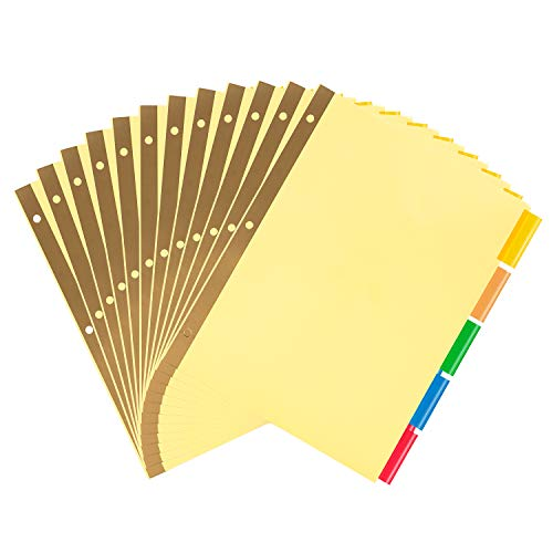 Amazon Basics 3 Ring Binder Dividers With 5 Tabs, Paper Binder Dividers, Insertable Multicolor Plastic Tabs, Pack of 12 Sets (60 Dividers Total)