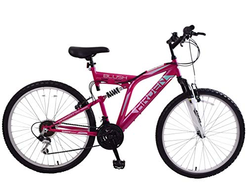 Ammaco. Arden Blush 26' Wheel Womens Adults Mountain Bike 21 Speed Dual Full Suspension 16' Frame Pink