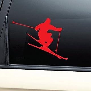 Nashville Decals Skiing Skier Ski Vinyl Decal Laptop Car Truck Bumper Window Sticker - Red