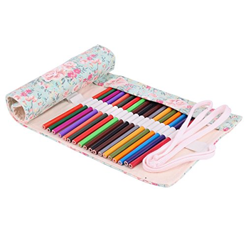 Molshine Handmade Canvas Flowers Style Colored Pencils Wrap36/48/72 Holes, Roll Up Pen Holder Case Cute And Multi-Purpose (NO Pencil Included) (72Holes)