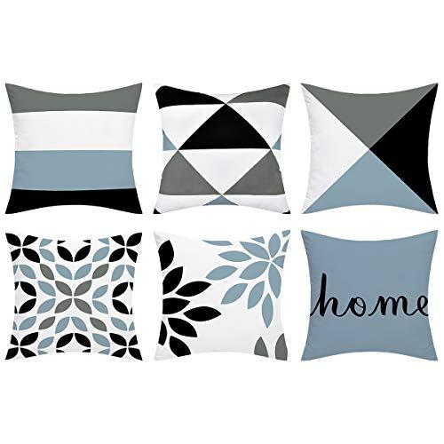 Alishomtll 6er Set Dekorative Kissenbezug Outdoor Wurf Zierkissenhülle Geometrie Muster Kissenhülle für Sofa Zimmer Polyester, 45 x 45 cm