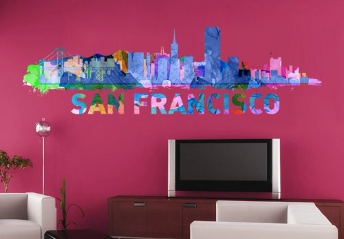 Moonwallstickers San Francisco Watercolor City Skyline Decal Illustration Art Paint – 148,1 x 43,9 cm | 148 x 44 cm
