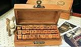 Korean Alphabet Rubber Stamp (33 Pcs) Bundle w/Black Ink Pad 한글 스탬프 Characters Wooden Box Vintage Antique Finish - Typewriter Font