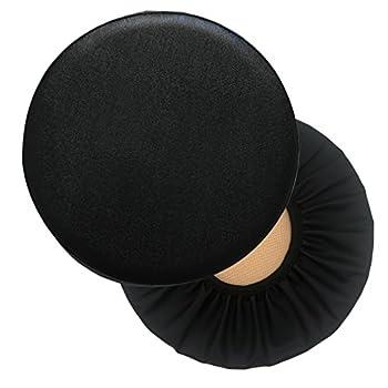 Sigmat 2 Pack Waterproof PU Bar Stool Cover Anti-Slip Round Seat Cover 12.5 Inch Black