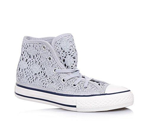 CONVERSE - Silberner Chuck Taylor All Star Sneaker mit Schnürsenkeln aus durchbrochenem Stoff, vorne ein Gummieinsatz, Mädchen-28
