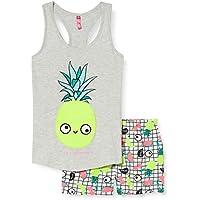 Lina Pink EF.Split.PSH Conjuntos de Pijama, Gris (Gris Chine/Blanc Gris Chine/Blanc), 12 años para Niñas