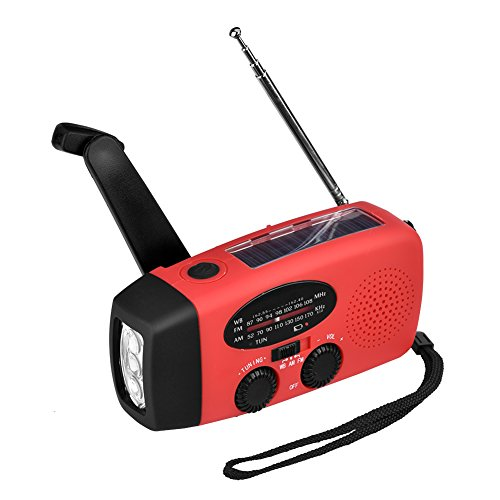 Noodradio Solar Hand Crank AM/FM WB 3 in 1 LED-zaklamp Draagbare oplader Power Bank voor smartphone(rood)
