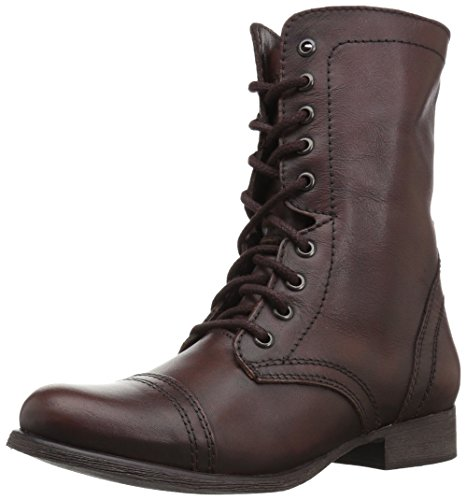 Steve Madden Women's Troopa Lace-Up Boot, Brown Leather, 10 M US