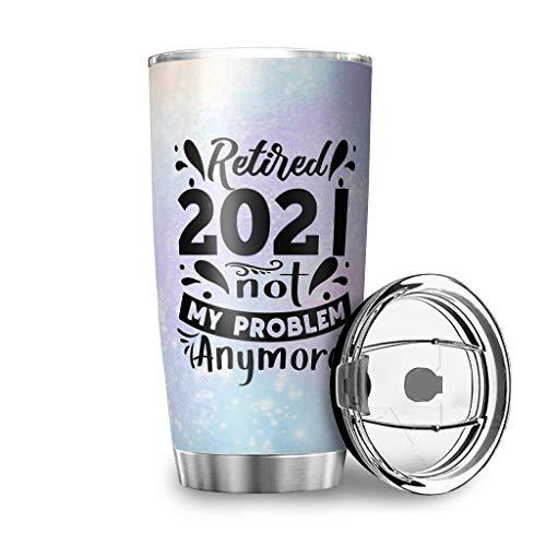FFanClassic Taza de viaje con tapa de cierre de acero inoxidable 2021 Not My Problem, de doble pared al vacío, duradera, 600 ml, color blanco