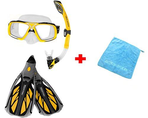 Aqua Speed® Set Taucherbrille, Schnorchel, Flossen (ELEA+Rio+INOX) für Erwachsene Damen/Herren + kleines Microfaser Tuch, Farbe:Yello;Größe:46/47