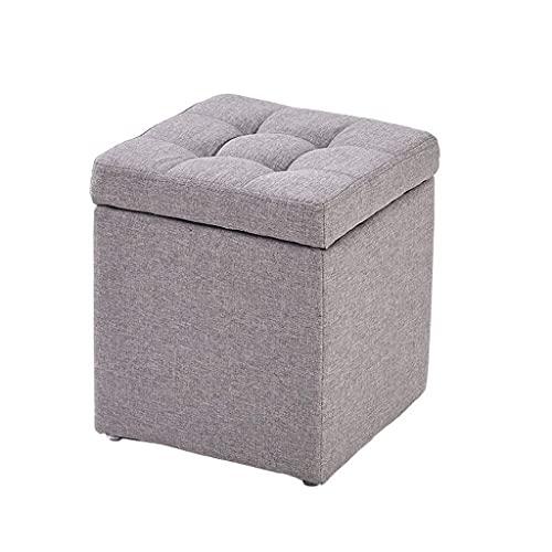 WEIZI Taburete de almacenamiento de lino de algodón y algodón, taburete de banco, pequeño sofá, reposapiés para decoración del hogar, silla, taburete de pie de 30 x 30 x 35 cm (color: gris claro)