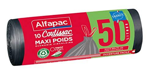 ALFAPAC - 10 sacs 50L à liens coulissants - Sacs-Poubelle Maxi-Poids - Éco-responsables : mélange de matière recyclée et d'origine végétale - Fabriqué en France