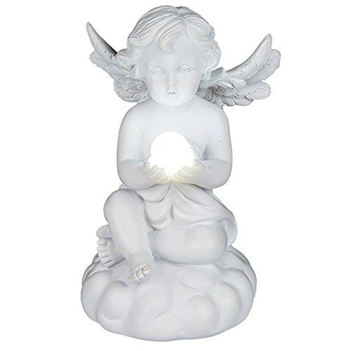Sitzender Engel mit weißer LED - Kugel 11,5 cm