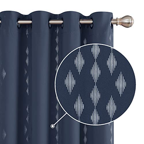 Deconovo Foil Printed Rhombus Design Curtain Panels Grommet Sound Proof Blackout Curtain Heat Blocking Drapes 52x84 Inch Navy Blue 2 Panels