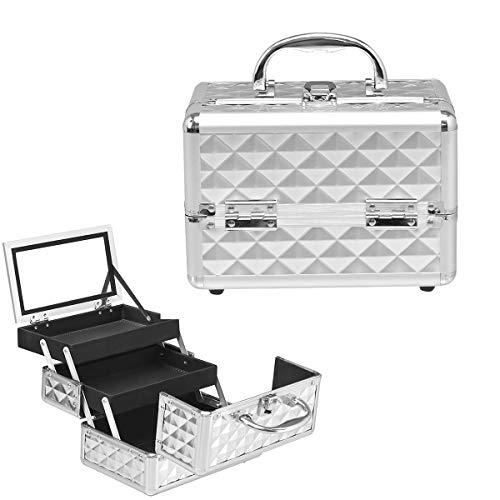 Giantex Mallette de maquillage avec miroir, mallette de maquillage en ABS et aluminium, 2 plateaux extensibles, pliable et portable - Mallette de coiffure, multi-usages (argent)