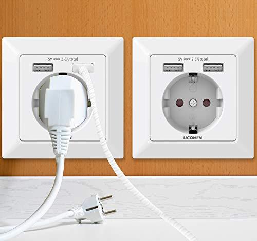 UCOMEN 2.8A USB Schuko Steckdosen, Wand steckdose 250V Steckdose mit 2 USB, Laden aller mobilen Geräte Passent in standard Unterputzdose,weiß (2 Pack)