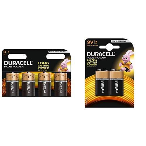 Duracell Plus Power Typ D Alkaline Batterien, 4er Pack & yp 9V Alkaline Batterien, 2er Pack