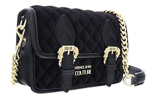 Versace Jeans Couture Black Goldtone Double Buckle Chain Strap Shoulder Bag for womens