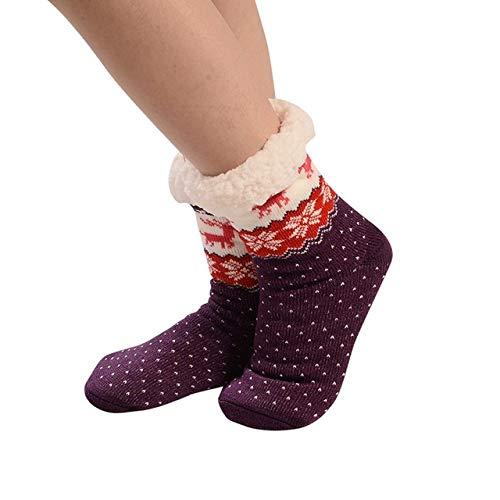 SZMRCA Women Christmas Socks Christmas Decoration Gift Women Cotton Socks Print Thicker Anti-slip Floor Socks Carpet Socks Navidad,A