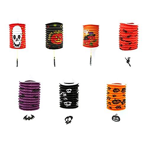 goodluccoy 1 x Halloween-Dekoration, kreative tragbare Laterne, faltbar, Papier-Kürbis, Fledermaus, Geister-Druck, tragbare Hängeleuchte, Laterne, Heimdekoration, Partyzubehör (PB)