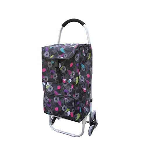 XINGPING-HOME Tragbare Crystal DREI-Rad Einkaufswagen Trolley Treppen Einkaufswagen Supermarkt Senioren (Farbe : 450 Three Round Shopping Bag)