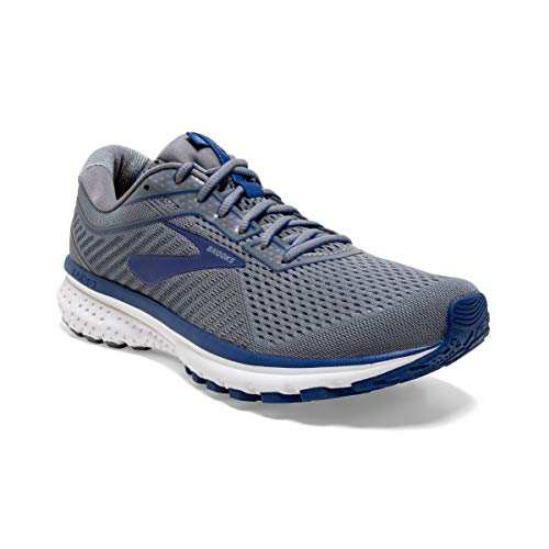 Brooks Mens Ghost 12 Running Shoe - Grey/Alloy/Blue - D - 10.0