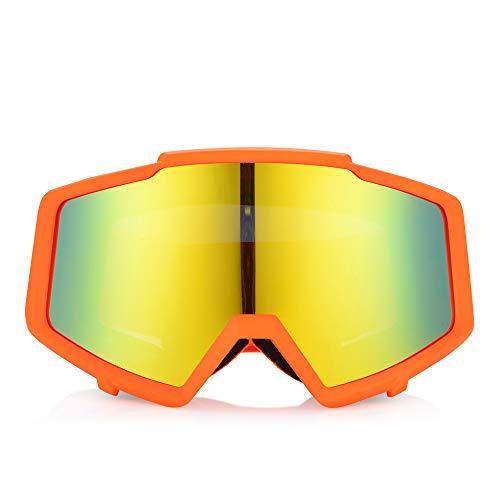 Qnlly Mens - Gafas de esquí para mujer (protección UV, antiniebla, para exterior, para esquí, carreras, ATV), naranja