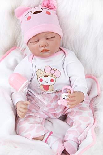 ZIYIUI Muñeco Bebé Reborn 22inch 55CM Realista Dormir Reborn Muñeca Bebé Niñas Vinilo Suave Silicona Baby Doll Niños Juguetes Recien Nacidos Cierra Tus Ojos Niña Regalo