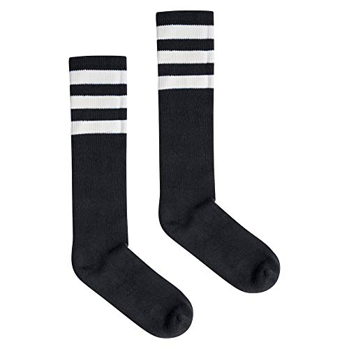 American Apparel Damen Stripe Calf-High Socken, schwarz/weiß, Einheitsgröße