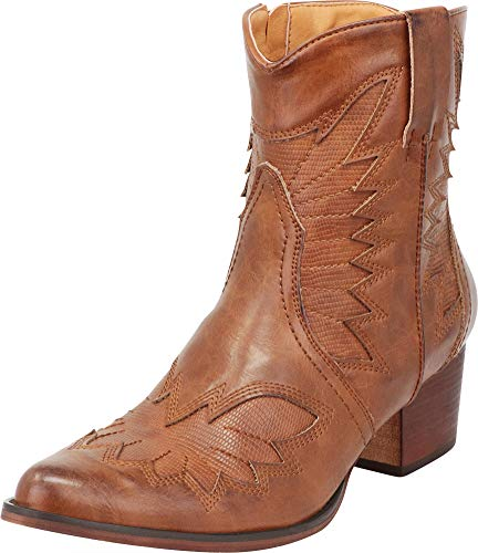 Cambridge Select Women's Western Cowboy Pointed Toe Chunky Stacked Heel Ankle Boot,6.5 B(M) US,Whiskey PU