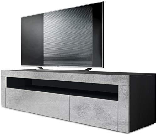 Vladon TV Board Lowboard Valencia, Korpus in Schwarz matt/Front in Beton Oxid Optik mit Rahmen in Beton Oxid Optik