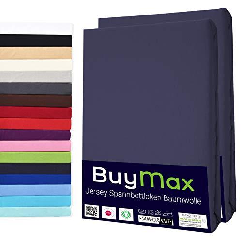 Doppelpack Spannbettlaken 180x200-200x200 cm aus Reiner Jersey Baumwolle Spannbetttücher Bettlaken Anthrazit