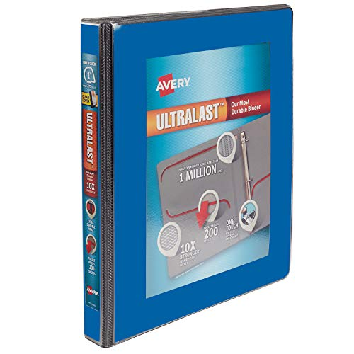 Avery 1 Ultralast 3 Ring Binder, One Touch Slant Ring, Holds 8.5 x 11 Paper, 1 Blue Binder (79740)