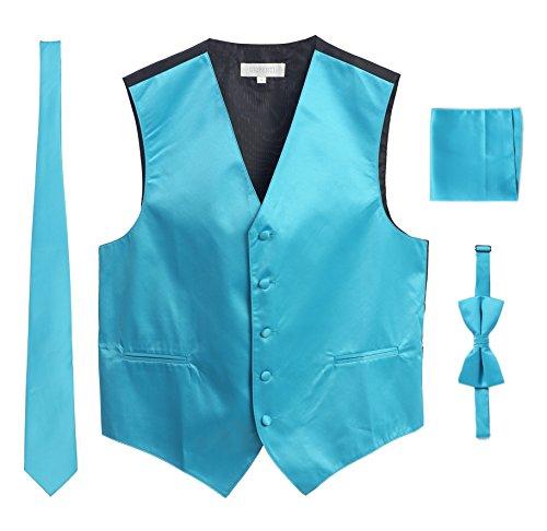 Gioberti Men's Formal Vest Set, Bowtie, Tie, Pocket Square, Turquoise, Medium