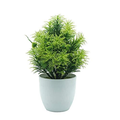 SuperglockT Kunstpflanze Kunststoff Vielblättriger Heckenbambus Künstliche Bonsai Baum Topfpflanzen Kunstbaum für Tischdeko Hochzeit Geburtstag Balkon Hochzeit (Grün)
