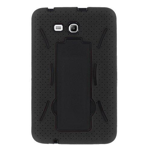 Galaxy Tab E 8.0 T377 Case, KIQ Heavy Duty Silicone Skin Hard Plastic Protective Case Cover for Samsung Galaxy Tab E 8.0 SM-T377 [2016] (Hybrid Black)