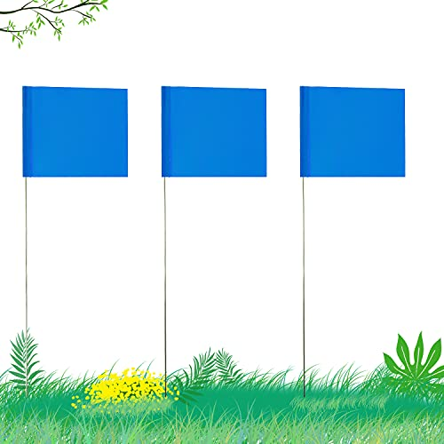 AIEX 5.1נ7.6cm 42 Pezzi Marcatura Bandiere con Asta in Acciaio da 35cm Vinile Bandiera del Palo per Uso Industriale Servizi Pubblici Sotterranei Architettura del Paesaggio (Blu)