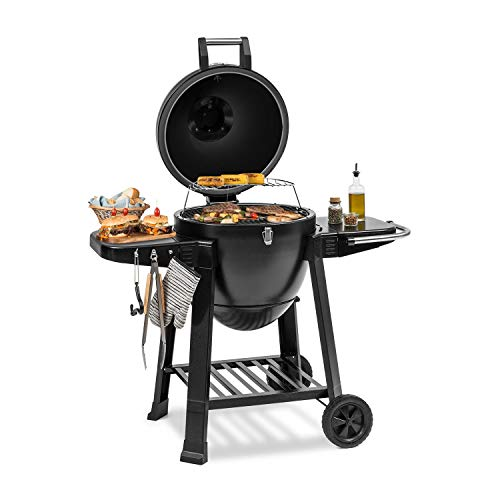 KLARSTEIN Duomo Kamado Grill - For Grilling, Slow Cooking, Smoking or Baking, Storage for Barbecue Utensils, Materials: Powder-Coated Steel, Cast Iron and Ceramic, 0-350 ° C, Two Rollers