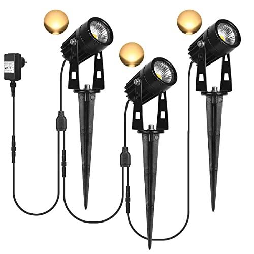 SanGlory 3er Set Gartenstrahler LED mit Erdspieß, 3W LED Gartenleuchte mit Stecker 12V, IP65 Wasserdicht Gartenbeleuchtung LED Warmweiß Außen-Strahler Außenlampe für Garten