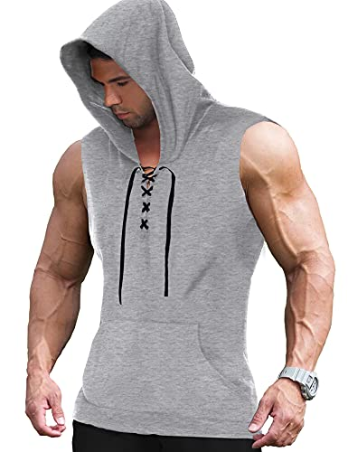COOFANDY Men's Workout Hooded Tank Tops Sleeveless Gym Hoodie Cut Off T Shirt Lace-up Bodybuilding Muscle Hoodie (XL(US Large), Light Grey)